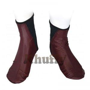 Khuffy® Burgundy Men's/Women's Elastic Slip-On Halal Leather Sunnah Khuff Khuffain Socks For Mosque