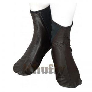 Khuffy® Dark Brown Men's/Women's Elastic Slip-On Halal Leather Sunnah Khuff Khuffain Socks For Mosque