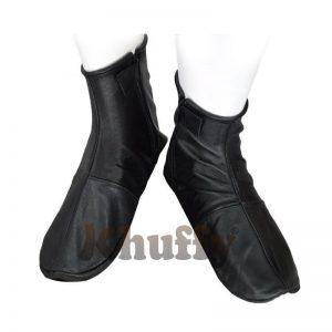 Khuffy Black Men's/Women's Zipper Halal Leather Sunnah Khuff Khuffain Socks For Mosque