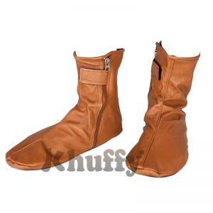 Khuffy Camel Brown Men's/Women's Zipper Halal Leather Sunnah Khuff Khuffain Socks For Mosque